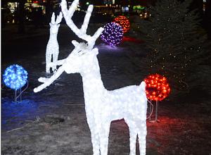 Любители селфи третий раз обламывают рога светодиодному оленю в центре Волжского