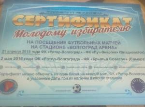Волжанка решила продать полученный даром на выборах сертификат на футбольные матчи