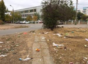 Залежи мусора обнажились после покоса травы в Волжском