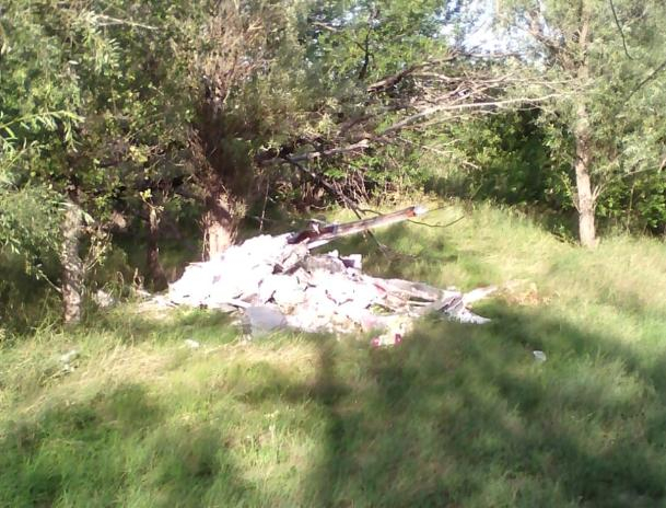 У озера появилась свалка строительного мусора