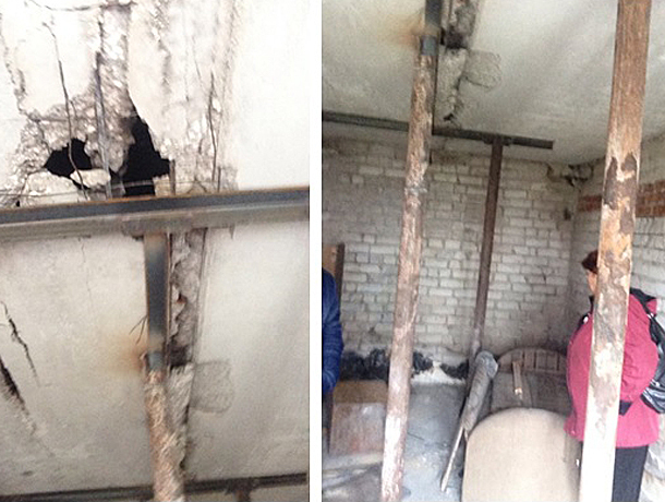 Бетонный потолок сыпался на головы жителей многоэтажки в Волжском