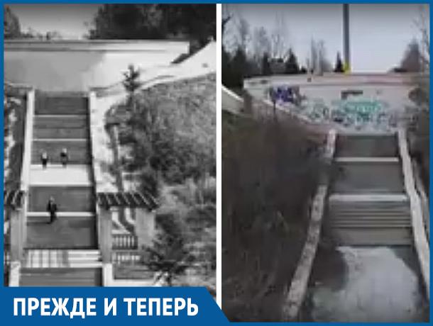 В Волжском с дрона сняли неприглядные места лестницы на Набережной
