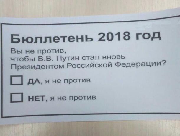 Волжане посмеялись над «риторическим» бюллетенем 2018 года