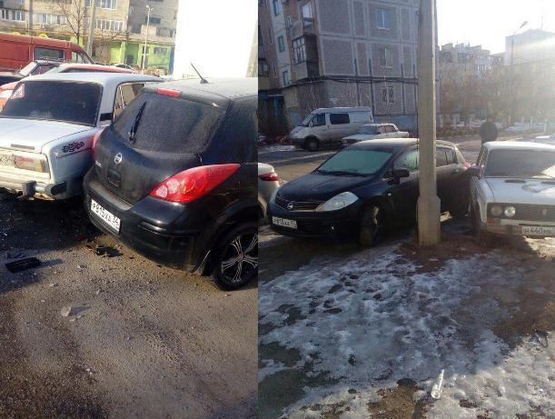 Волжанин влетел в припаркованную «шестерку», которая после удара вдребезги разбила «Ниссан»