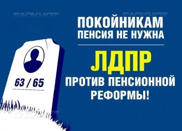 В Волжском ЛДПР выступила против пенсионной реформы под лозунгом «Покойникам пенсия не нужна»