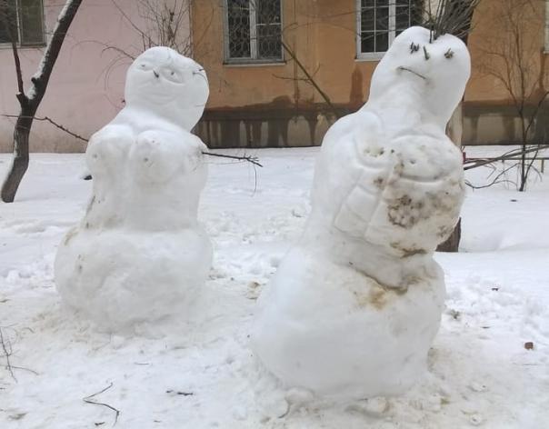 Фигуристая парочка из снега попала в объектив волжан